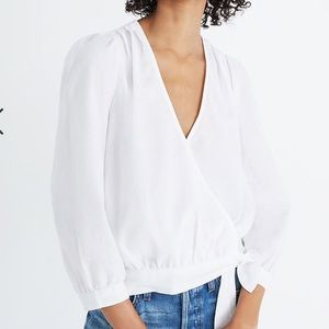 Madewell Wrap Top in Eyelet White.